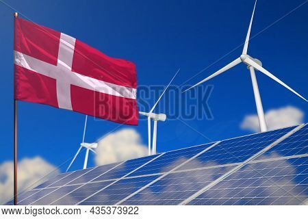 Denmark Renewable Energy, Wind And Solar Energy Concept With Wind Turbines And Solar Panels - Altern