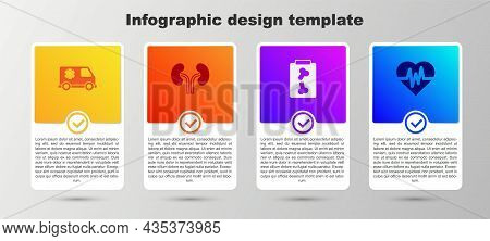 Set Emergency Car, Human Kidneys, X-ray Shots And Heart Rate. Business Infographic Template. Vector