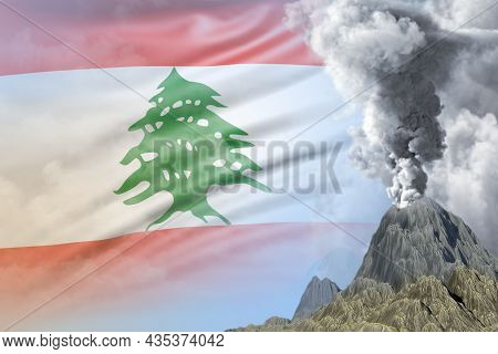 Conical Volcano Eruption At Day Time With White Smoke On Lebanon Flag Background, Troubles Because O