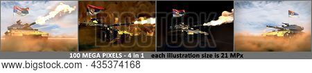 Serbia Army Concept - 4 Detailed Pictures Of Heavy Tank With Fictional Design With Serbia Flag, Mili