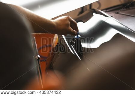 Mechanical Places Dent Removal Suction Cup On The Car In The Car Service To Renovate The Vehicle For