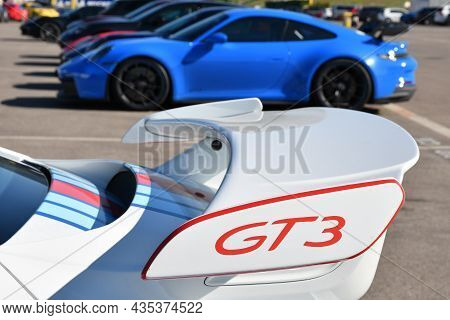Mugello Circuit, Italy - 23 September 2021: Detail Of Rear Wing Of A Porsche 911 Gt3 In The Paddock