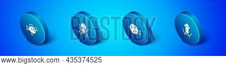 Set Isometric Tropical Fish, Fish Hedgehog, Octopus And Icon. Vector