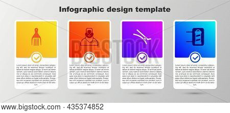 Set Barrette, Client In Barbershop, Hair Clip And Barber Pole. Business Infographic Template. Vector