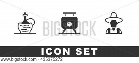 Set Wine In Italian Fiasco Bottle, Fermentation Of Grapes And Farmer The Hat Icon. Vector