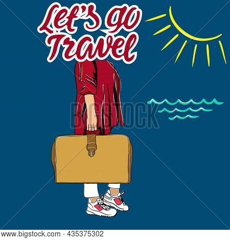 Let's Go Travel Vector Background Design. Let's Go Travel The World Text With Elements Of Travel Vac