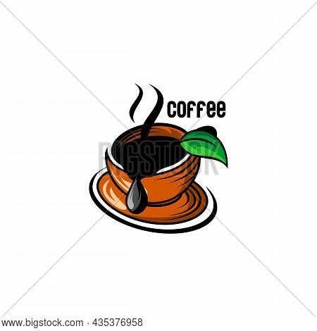 Vector Illustration Of Cafe Logo, Cup Of Coffee, Leave