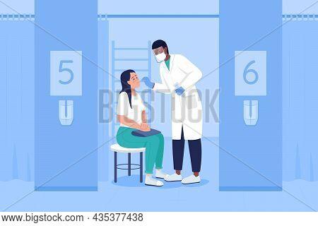 Testing For Virus Flat Color Vector Illustration. Health Checkup. Clinical Diagnostics. Taking Sampl