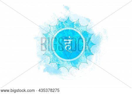 Fifth Chakra Of Visuddha, Throat Chakra Logo Template In Watercolor Style. Blue Mandala. Hindu Sansk