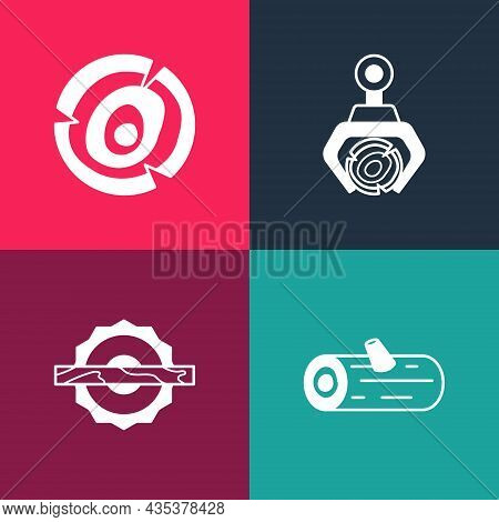 Set Pop Art Wooden Logs, Electric Circular Saw, Grapple Crane Grabbed And Icon. Vector