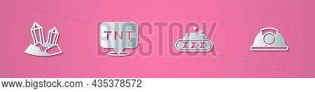 Set Paper Cut Gem Stone, Dynamite, Conveyor Belt Carrying Coal And Miner Helmet Icon. Paper Art Styl
