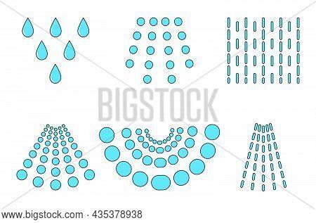 Water Spray Drops. Aqua Blue Liquid Spraying From Sprayer Or Shower. Vector Illustration Isolated On