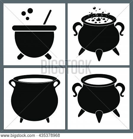 Cauldron With  Magic Potion And Empty Pot. Silhouette Halloween Icon Set. Vector Illustration With B