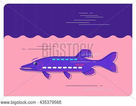 Pike In The River, Minimalistic Flat Illustration