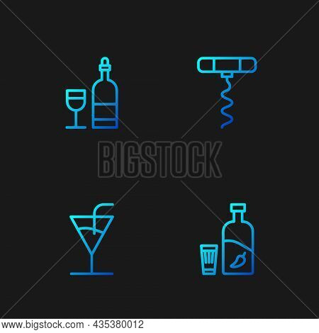 Set Line Vodka With Pepper And Glass, Cocktail, Wine Bottle And Corkscrew. Gradient Color Icons. Vec