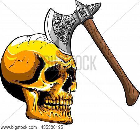 Vector Illustration Of Skull With Ax Art