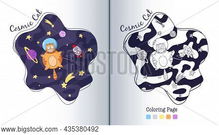 Cat Astronaut Flying With Rocket In Space Coloring Page. Cartoon Style. Hand Drawn Funny Animal Cosm