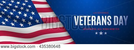 Usa Veterans Day Banner. Vector Banner With American Flag And Text. Design Template For Banner, Gree