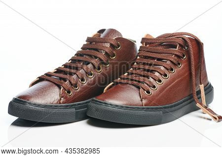 Brown Leather Sneaker Shoes