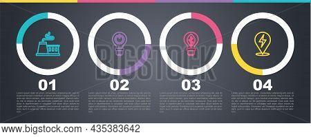 Set Line Factory, Light Bulb With Lightning, Leaf And Lightning Bolt. Business Infographic Template.