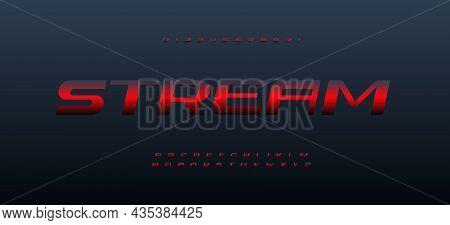 Stream Font Alphabet Letters. Modern Logo Typography. Minimal Dynamic Typographic Design. Wide Lette