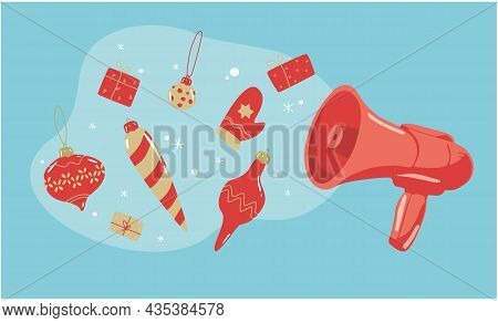Megaphone Announces Merry Christmas. Speaker With Gifts And Xmas Deduce. Winter Vibes. New Year Conc