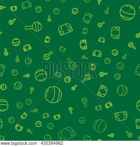 Set Line Rattle Baby Toy, Beach Ball And Baby Absorbent Diaper On Seamless Pattern. Vector