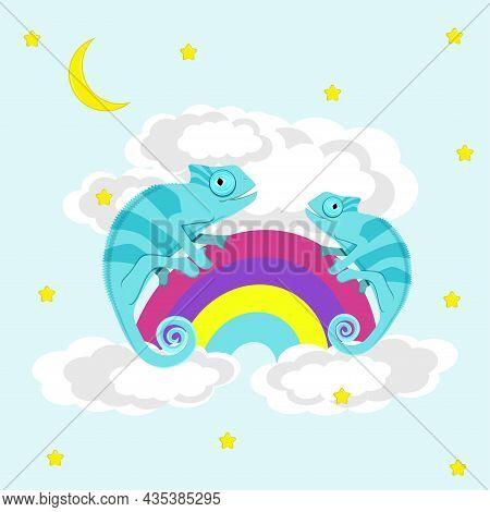 Chameleons Walking On Rainbow. Flat Vector Illustration.