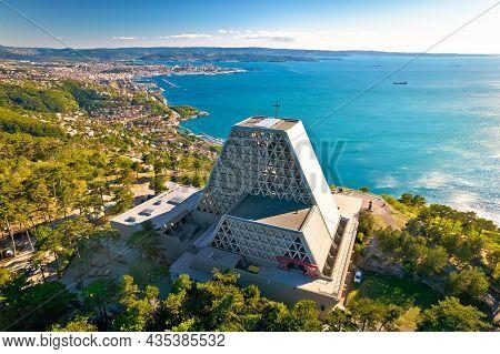 The Temple Of Monte Grisa On Karst Plateau Mountain Above Trieste Aerial View, Friuli Venezia Giulia
