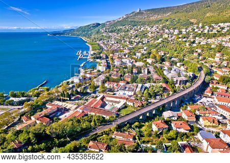 Aerial View Of Trieste Coastline View, Friuli Venezia Giulia Region Of Italy