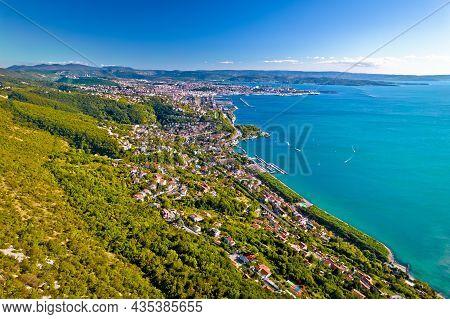 Aerial View Of Trieste Coastline From Monte Grisa View, Friuli Venezia Giulia Region Of Italy