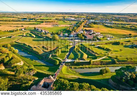 Town Of Palmanova Defense Walls And Trenches Aerial View, Unesco World Heritage Site In Friuli Venez