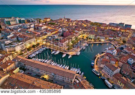 Town Of Grado Colorful Architecture And Waterfront Aerial Evening View, Friuli-venezia Giulia Region