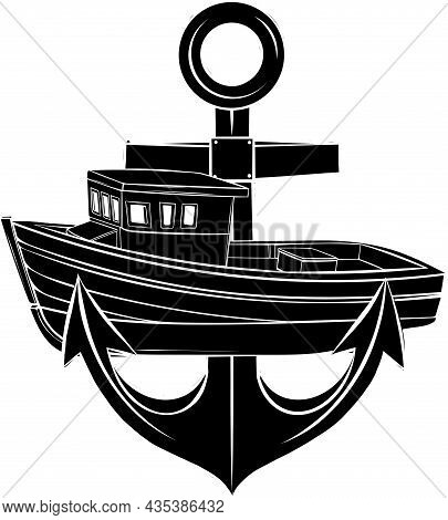 Vector Silhouette Of Fishing Boat With Anchor