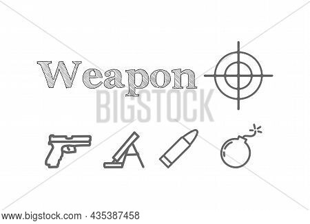 Weapon Vector Line Icon Set With Bullet, Bomb, Mortar, Pistol