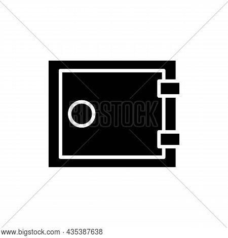 Money Safe Thin Line Icon. Finance, Business Sign On White. Trendy Flat Isolated Solid Black Symbol,