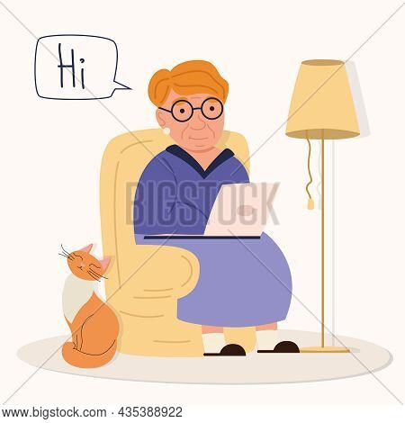 A Happy Red-haired Grandmother With A Laptop Sits In A Cruise And Rewrites, And A Red Cat Sits Next