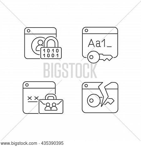 Password Encryption Linear Icons Set. Internet Safety. Corporate System Security. Password Managemen