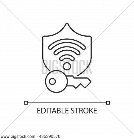 Protected Wifi Password Linear Icon. Internet Safety. Private Network. Secure Wireless Connection. T