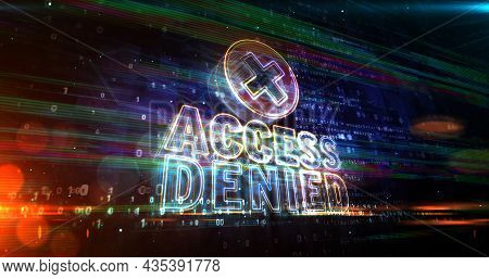 Access Denied Neon Sign Abstract Concept 3D Illustration