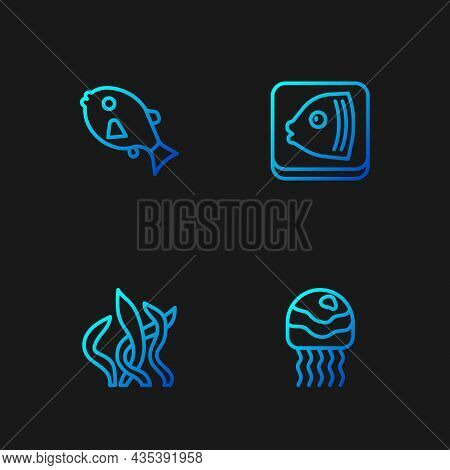 Set Line Jellyfish, Seaweed, Tropical And Fish Head. Gradient Color Icons. Vector