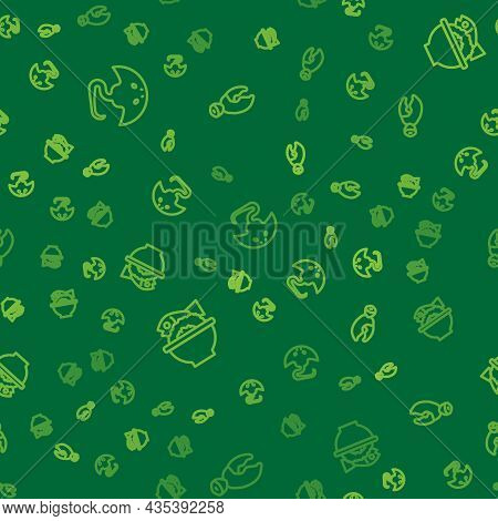 Set Line Stingray, Served Fish On Bowl And Lobster Or Crab Claw On Seamless Pattern. Vector