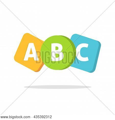 Abc English Letters Logo Or Learning School Courses Icon For Kids Or Child Language Classes Vector F