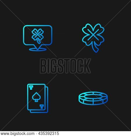 Set Line Casino Chips, Playing Card With Spades, Slot Machine Clover And . Gradient Color Icons. Vec