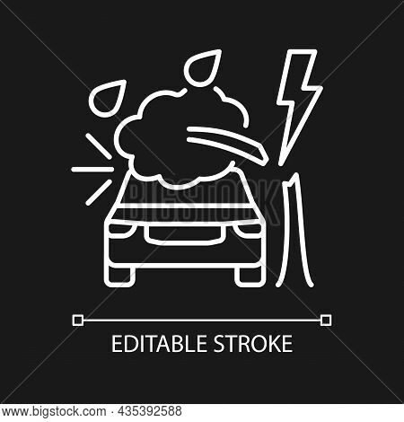Weather Related Damage White Linear Icon For Dark Theme. Tree Falling On Car. Windscreen Damage. Thi