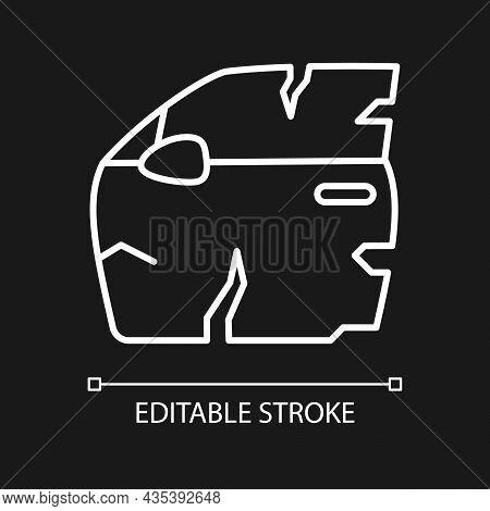 Broken Car Door White Linear Icon For Dark Theme. Road Traffic Accident. Door Panel Dents. Thin Line