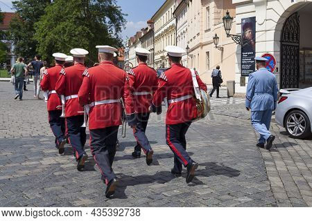 Prague, Czech Republic - June 14 2018: Military Band Of Prague Castle Guards At The Entrance Of Hrad