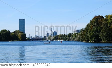 Berlin, Germany, October 1, 2021, View Over The River Spree Towards The City Center With Characteris