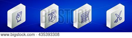 Set Isometric Line Medical Rubber Gloves, Barbershop With Razor, Calendar Haircut Day And Scissors H