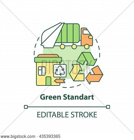 Green Standard Concept Icon. Waste Management Service Abstract Idea Thin Line Illustration. Trash Co
